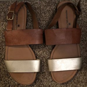 Brown & Gold Thick Strap sandal